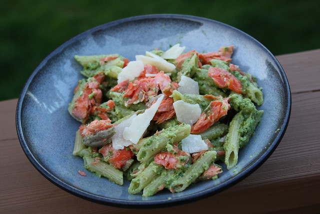 Hazelnut Pesto Pasta with Salmon