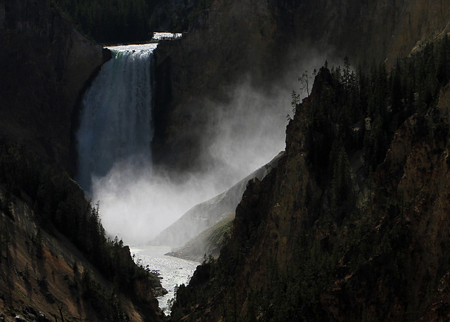 Mist from the Lower Falls as it drifts into the Grand Canyon of the Yellowstone