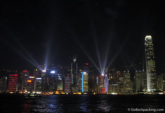 The nightly laser light show on Hong Kong Island, as viewed from Kowloon