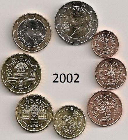 Sada mincí 1 cent - 2 euro Rakúsko 2002