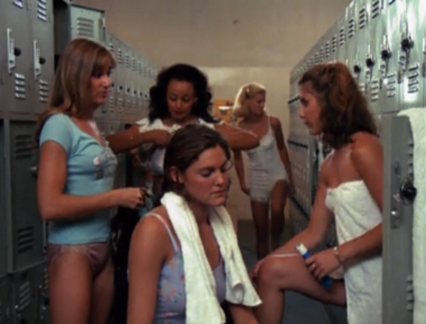 The film's main characters look about to disrobe in a school locker room