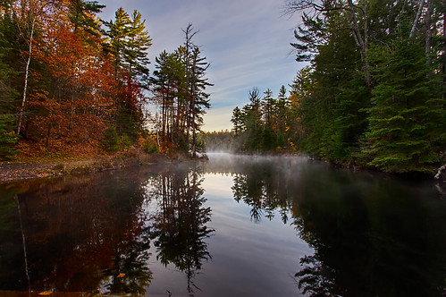 morning sky mist ontario canada fall water clouds sunrise reflections bluesky pines goulaisriver