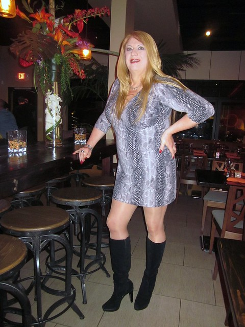 Suede Leather Boots with my Snake Skin Print Mini Dress