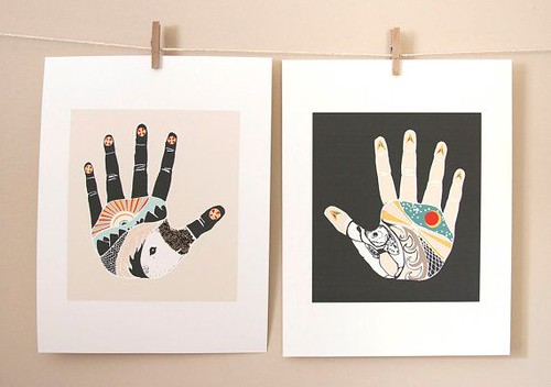 The Something Hand and The Nothing Hand by Native Bear, Couple Art Gift Duo