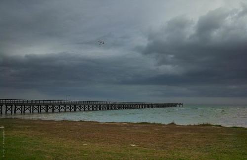 sky seascape storm gulfofmexico water pier fishing texas pelican coastal portoconner matagordabay