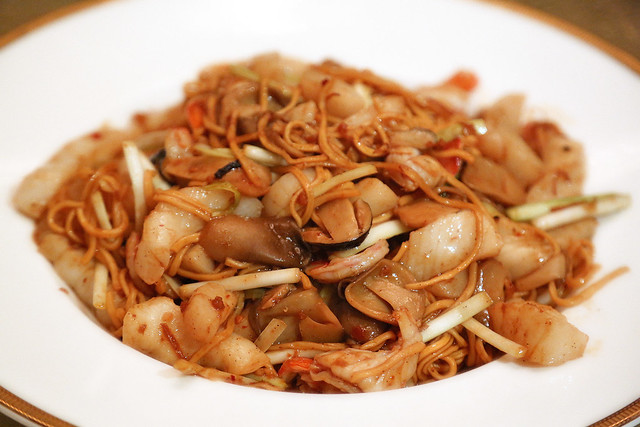 Braised Ee-Fu Noodles with Seafood in XO Sauce