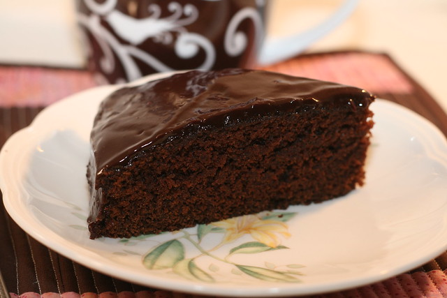 fudge cake with dark chocolate ganache
