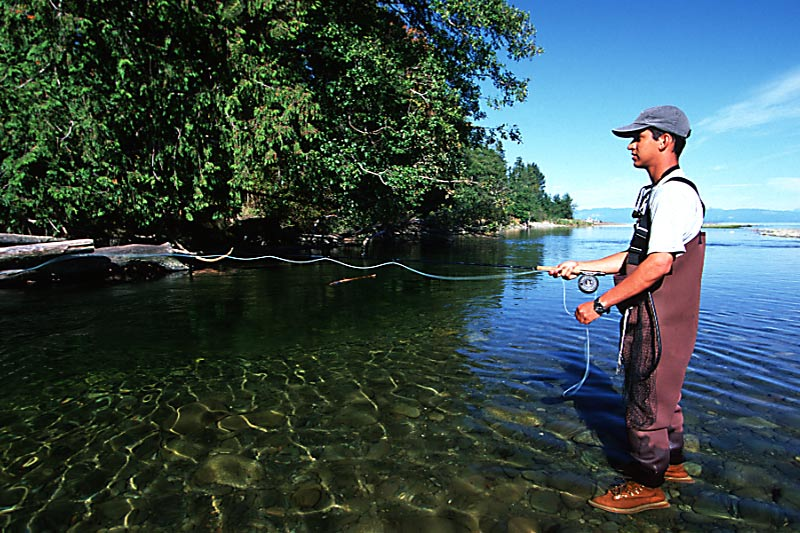 Flyfishing the Oyster River in Saratoga Beach, Vancouver Island, British Columbia, Canada