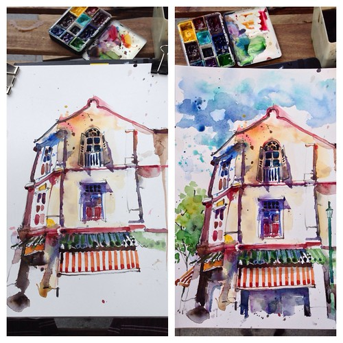 Sketching shophouses at McCullum Street, Sibgapore by PaulArtSG