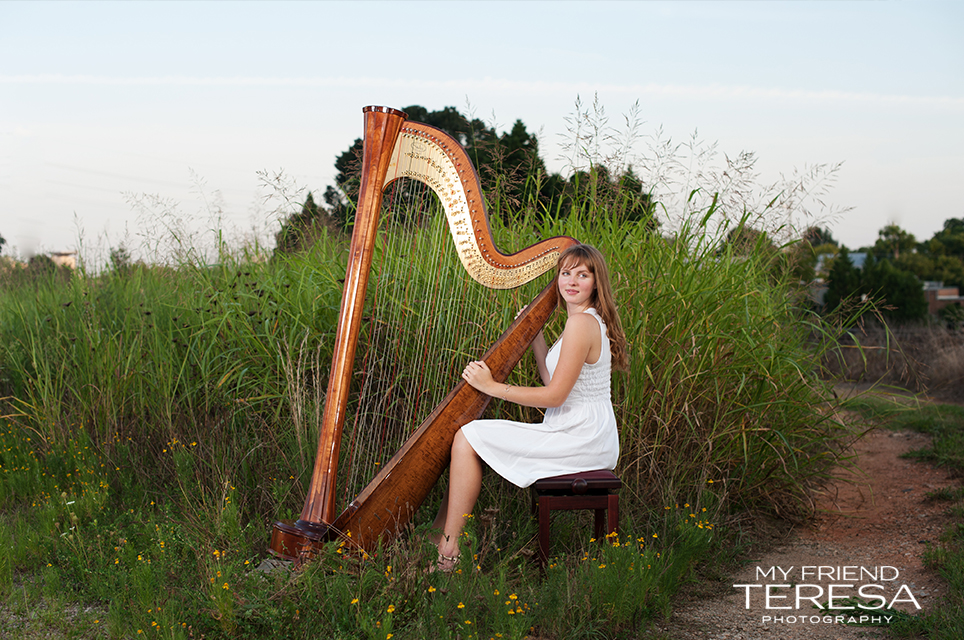 cary academy senior, my friend teresa photography, harp senior portrait