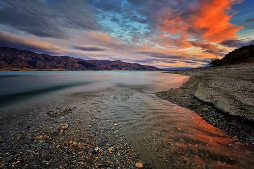 sunset newzealand lake landscape otago hawea mollybrown