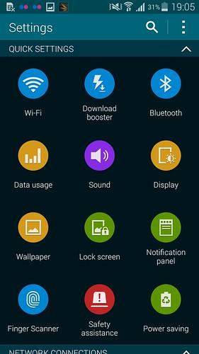 Settings ของ Samsung Galaxy S5 แบบ Grid View