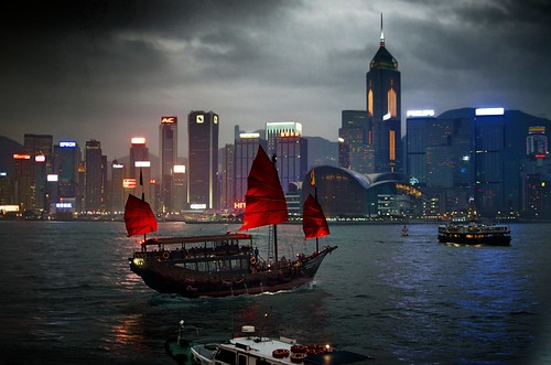 china sunset red storm skyline night 35mm buildings lights star harbor boat junk nikon victoria hong kong nikkor f18 ferries veils d7000