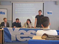Accession Number: spa.2065.2  Yes Scotland GCU (Glasgow Caledonian University).   Photographs of  University's student-led 'Yes' campaign's first public event, 'The case for Scottish independence'.  The event was held on Thursday 10th April 2014.  Speakers included Michael Gray (Business for Scotlan...