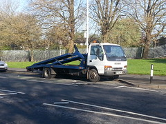Isuzu NQR Twin deck recovery truck seen near BridgeHall, Stockport 24-04-2014...