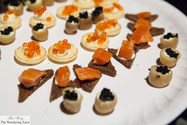 Assortment of caviars, salmon roe and smoked salmon by Paramount Caviar (at VIP Lounge)