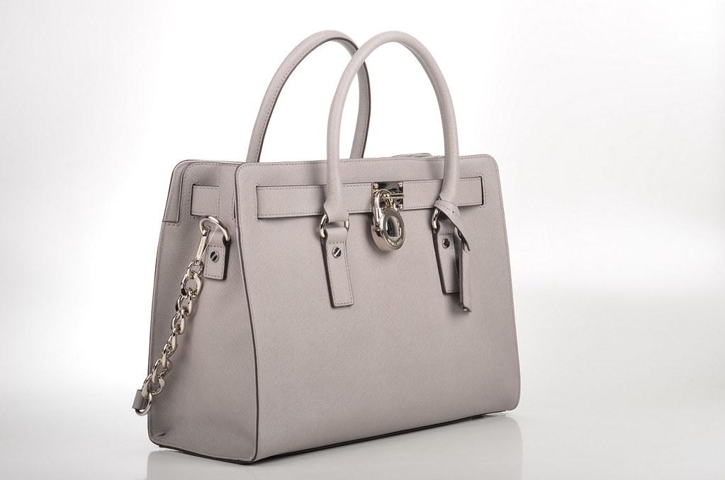 a950bc908741e ... Michael Kors Hamilton LG EW Satchel Handtasche 30F4SHMS7T Kalbsleder  grau   silber (pearl grey)
