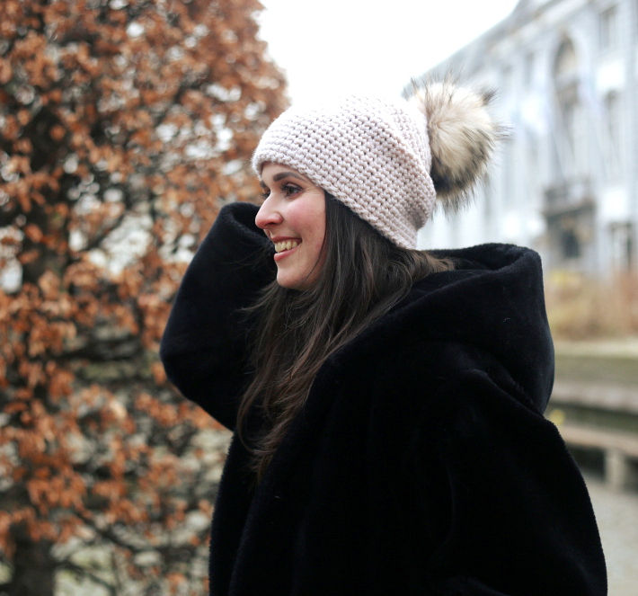 fluffy pom pom hat, vintage fur coat