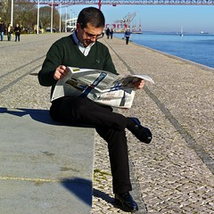 Reading the weekly newspaper