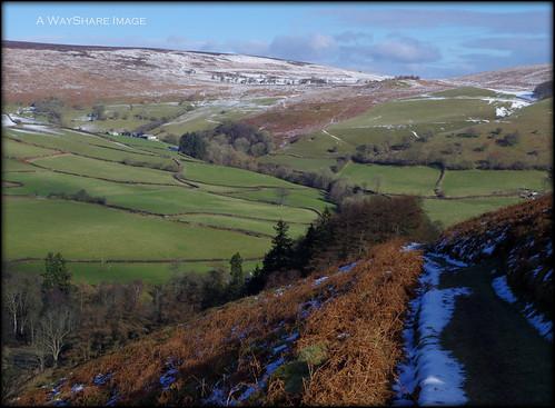 winter snow hills valley fields bracken hillside footpath powys glascwm