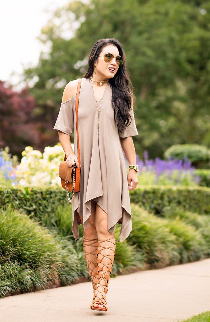 cute & little blog | petite fashion | cold shoulder scarf hem shift dress, tall gladiator sandals, chloe faye dupe bag, choker necklace | 90s spring summer fashion