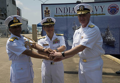 Indian Navy Vice Adm. Harish Bisht, commanding-in-chief, Eastern Naval Command;  Rear Adm. Koji Manabe,  Japan Maritime Self-Defense Force Escort Flotilla 3 commander; and Rear Adm. Brian Hurley, U.S. 7th Fleet deputy commander, shake hands after a Malabar 2016 press conference at U.S. Fleet Activities Sasebo. (U.S. Navy/MC1 David R. Krigbaum)