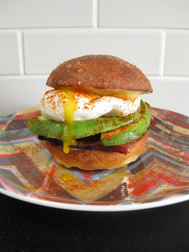 Avocado and Bacon Breakfast Sandwich on a Gluten-free Brioche Bun