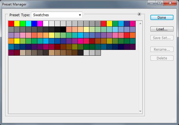 Как установить образцы (swatches) в Photoshop