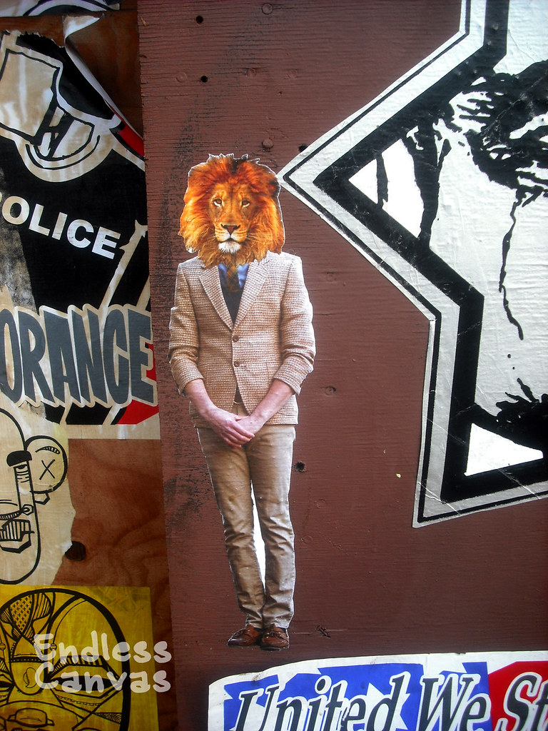"""lionhead"" paste up - Oakland, Ca"
