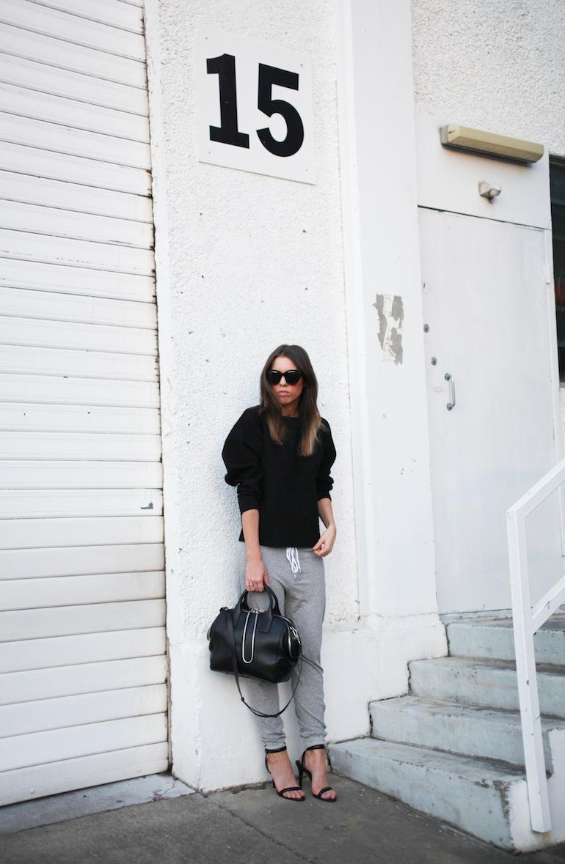 Modern Legacy fashion blog Australia Nicholas sweatshirt Bassike track pants Alexander Wang Jamie Chain Tote Bag Black Antonia heels Celine Audrey sunglasses (6 of 9)