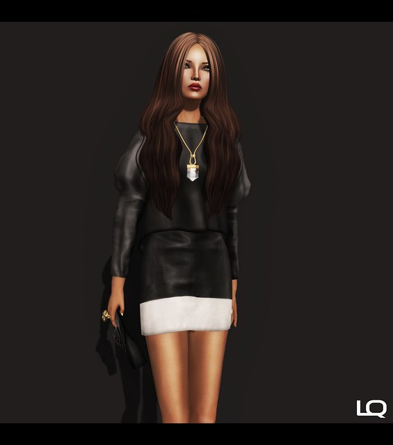 C88 July - ColorMeHOF Mesh [Leather Panel Skirt[BlackWhite] & [Puff Sleeve Blouse[Black]  by Fashionboi Landar