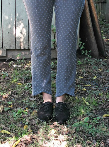 Polka dots pants in gray, using poly suiting fabric from Mood Fabrics