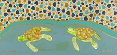 "Two Galapagos Green Sea Turtles in the Sea (16"" x 34.25"" acrylic on canvas)"