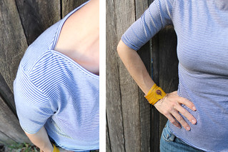 Self drafted boat neck tee detail