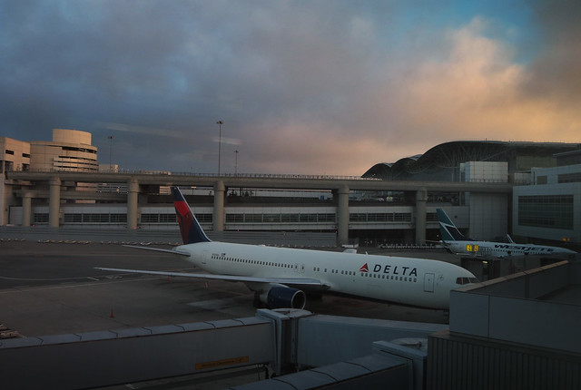 Delta Airplane at San Francisco International Airport (SFO), early morning  (2013)