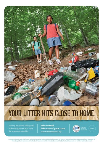 Image of a litter bus ad produced by the Potomac Watershed Trash Initiative.