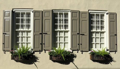 Subtle shades of brown: Shutters and window boxes in wrought iron holders, Charleston, SC