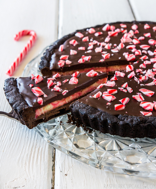 Christmas Candy Cane Chocolate Tart