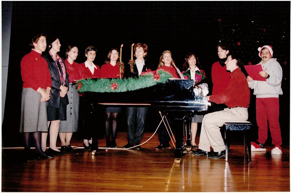 I lived in Athens, Greece for a year while teaching at the Kollegio Athinon, a K-12 school.  Dressed in our holiday colors, I accompany the rest of the faculty as we perform carols for our students