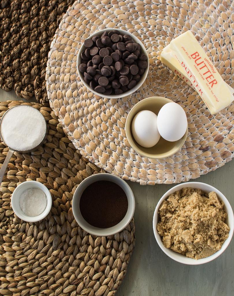 Main ingredients: white eggs, chocolate chips, sticks of butter, grown sugar, regular sugar and salt
