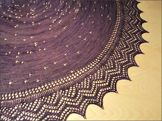 The Night is Purple and Full of Stars Shawl, slice