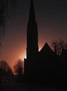 Sunrise behind St Andrew's Church, Cardiff.