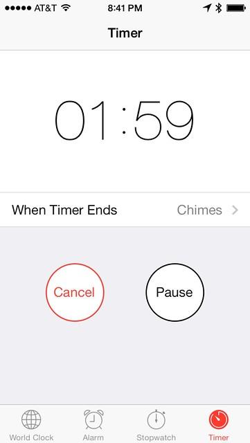 Timer in Clock app