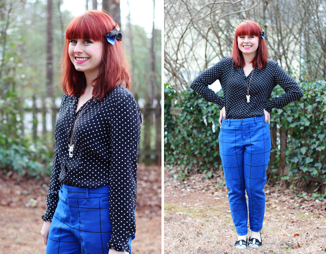 Blue Patterned Pants, Polka Dot Shirt, Galaxy Print Bow