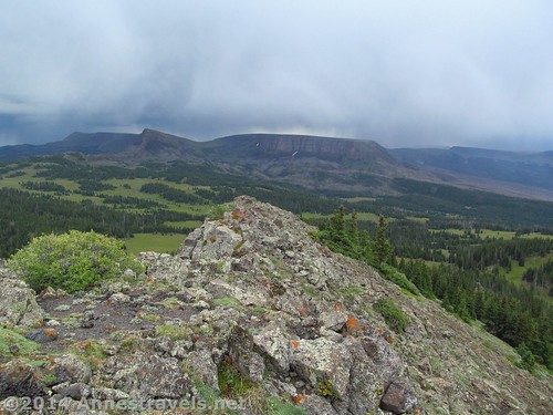 A storm passes over the Little Flat Tops, as seen from Pyramid Peak, Flat Tops Wilderness Area, Routt National Forest, Colorado