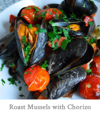 Roast Mussels with Chorizo
