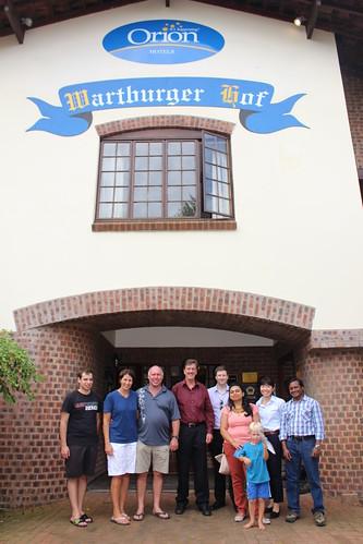 Group photo outside Wartburg Hof Hotel