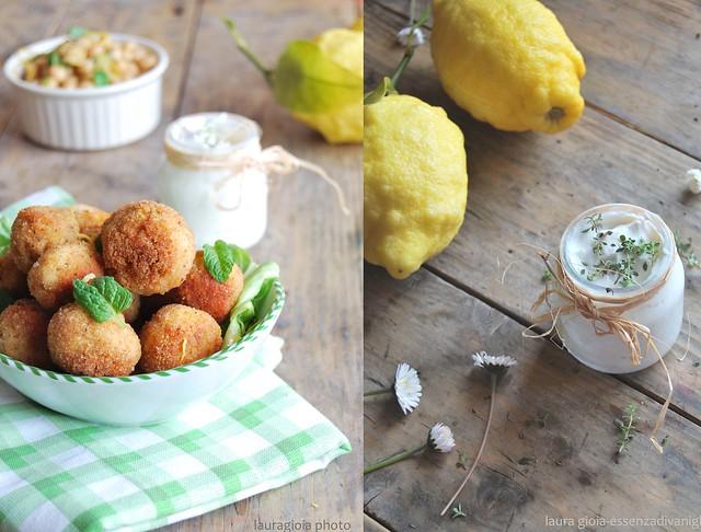 Polpette di pollo e ceci alla menta e limone con con kefir al timo