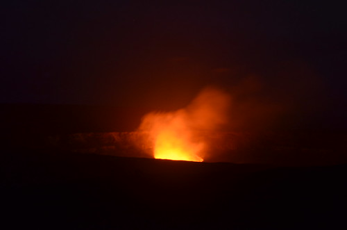 Halemaumau Crater at night