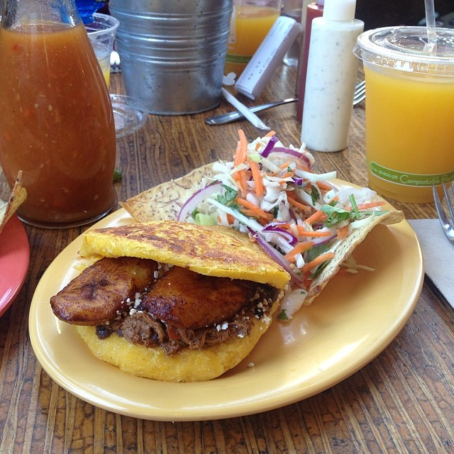 Shredded Beef Arepa at Pica Pica